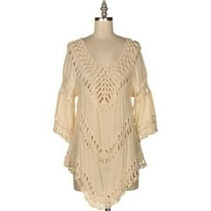 Tops - ⛔️CLOSEOUT Crochet tunic-natural 😱LAST ONE 😱