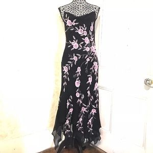 SOLD Sue Wong Black Silk Beaded Crocheted Dress