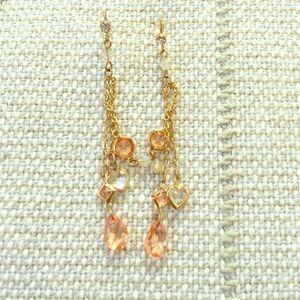 mandee Jewelry - Peach/Goldtone Drop Earrings