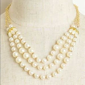Gold Triple Layer Pearl Necklace
