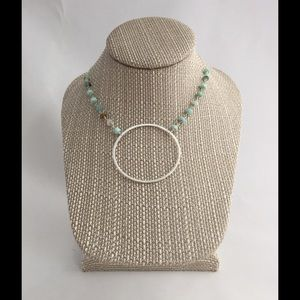 Silver halo necklace with Peruvian opal