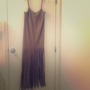 Faux Suede Fringe Bodycon Dress