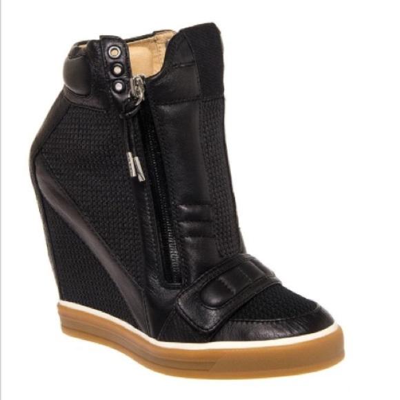 feac9f0e6c2c L.A.M.B. Shoes - L.A.M.B BLACK NALA WEDGE SNEAKERS