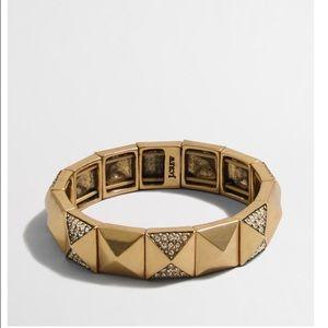J Crew Golden Crystal Pyramid Bracelet