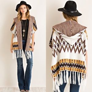 Sweaters - CCO Ethnic Print Open Cardigan