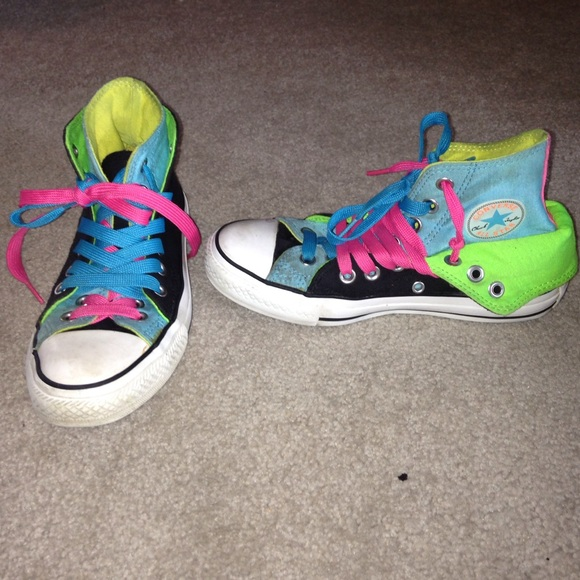 Converse High Top Neon Double Tongue Shoes Size 6