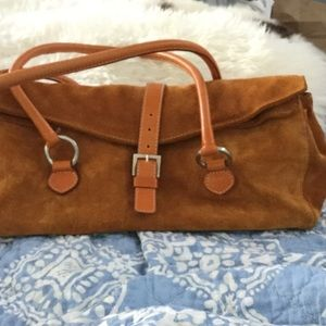 Caramel colored suede handbag