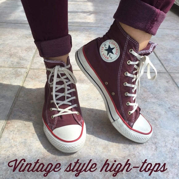 cb9dbfa0e812a1 Converse Shoes - FLASH SALE Vintage style maroon converse high tops