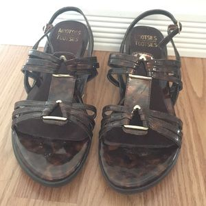 Leopard shinny sandal wedges