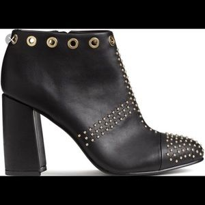 H&M gold-studded black block heel ankle boots
