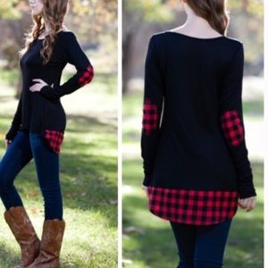 •plaid elbow patch tunic•