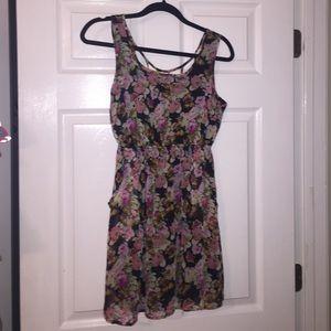 Floral caged back dress