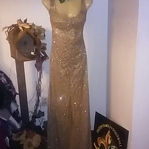 Night Way Gold Beaded Formal Dress