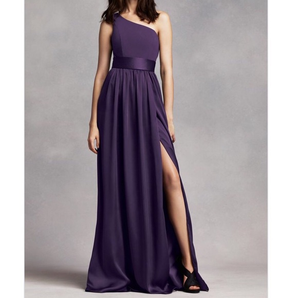 Purple Satin One Shoulder Dress