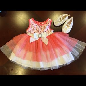 peach dress with white shoes