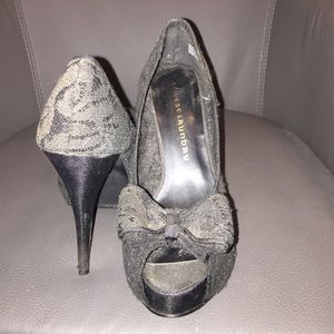 Chinese Laundry black Lace Peep Toes