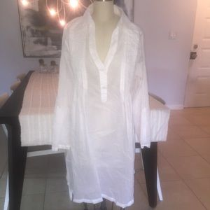 New Kenneth Coke white cotton voile XL cover up