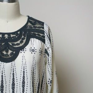 Black and White Lace Detail Top