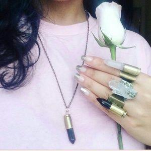 Black Obsidian Ring & Necklace Set