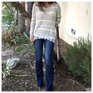 Sweaters - Color block lace trim sweater ONE HOUR SALE