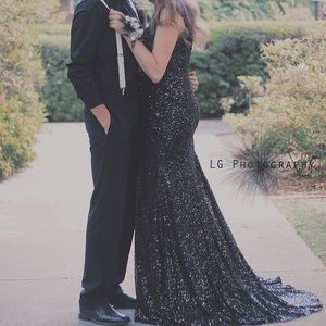 Long black sequin formal dress