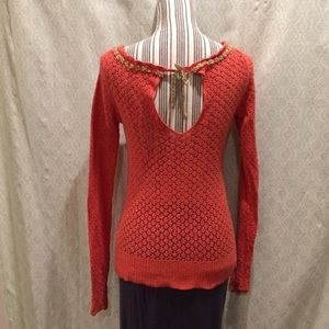 FREE PEOPLE key-hole sweater with gold bow