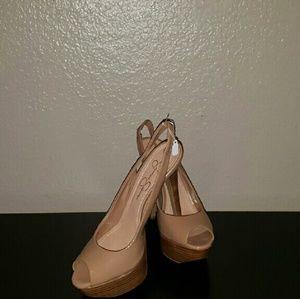 Nude patent leather Jessica Simpson slingback heel