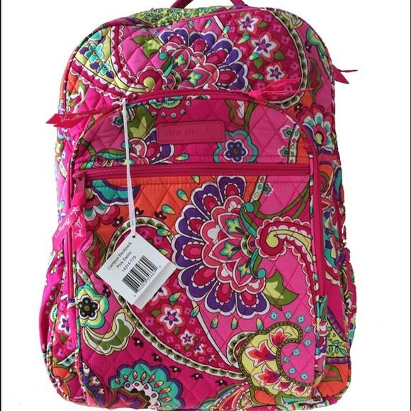 2cbf7f90c9 Vera Bradley Campus Backpack Pink Swirls