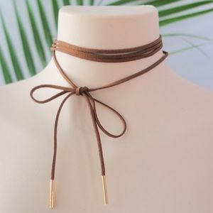 ❤BOGO Brown Faux Suede Layered Wrap Choker