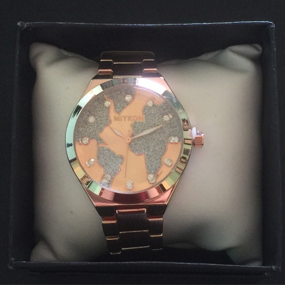 44 off mykon jewelry mykon womens rose gold world map watch mykon womens rose gold world map watch gumiabroncs Images