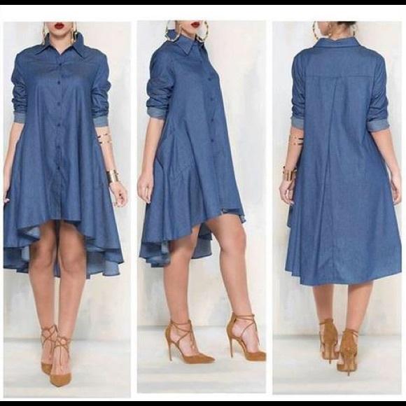 19effc528c Dresses   Skirts - High Low Denim Shirt Dress
