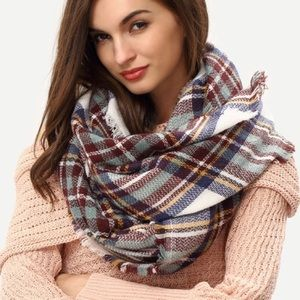 Mint Blue Brown Navy Plaid Blanket Scarf
