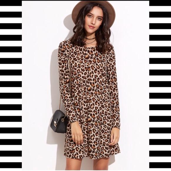 Boutique Dresses | Cheetah Leopard Print Tshirt Loose Swing Dress ...