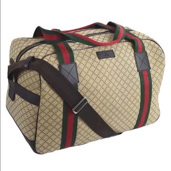 82c33b8f0975 NWT GUCCI Diamante Canvas Travel   Gym Duffel Bag