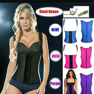 9 Steel boned vest corset latex waist trainer