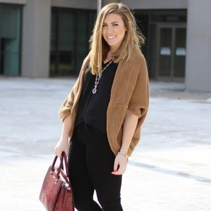 Camel Brown Knit Shrug Sweater Cardigan Open Front