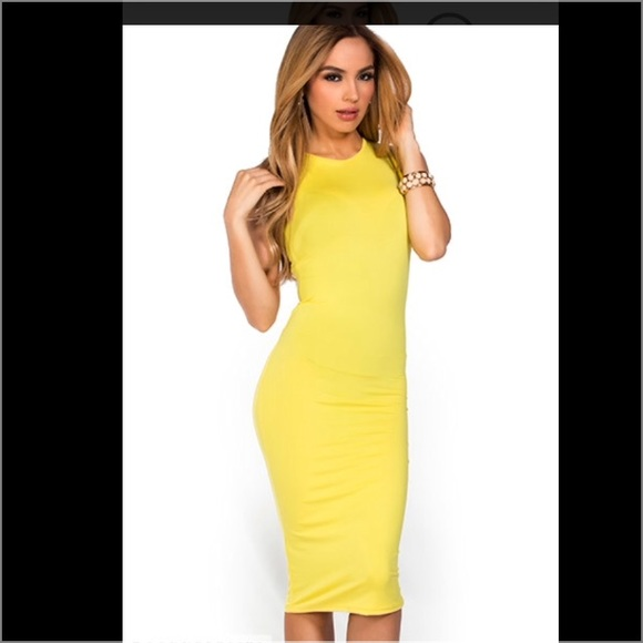 632405e8ce10 😍Sexy Yellow Fitted Dress❤️