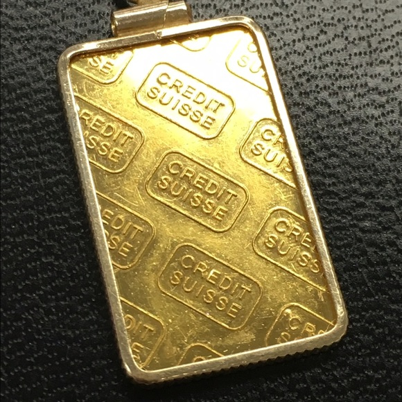 50 Off Jewelry 24k Credit Suisse Gold Bar Pendant From