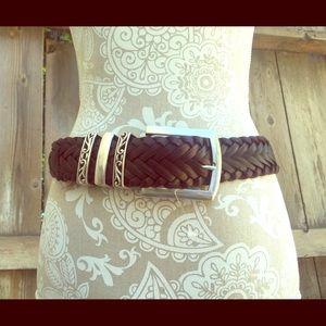 Woolrich Accessories - Woolrich Thick Brown Braided Belt