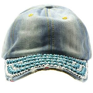 Faded Blue Denim Hat Cap Pearl Metal Stud Detail