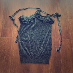 Mango sz small black with silver lining halter top