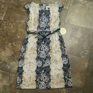 Emma and Michele  Dresses & Skirts - NWT Black and Tan Dress with Flowers