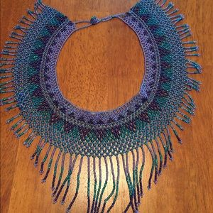 Beaded statement necklace Native American style