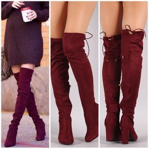Shoes - Burgundy OTK slouchy fitted drawstring boots
