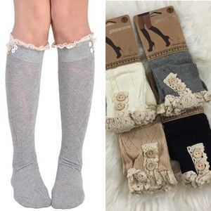 Boutique Accessories - Diamond Knit Lace Knee-High Boot Socks
