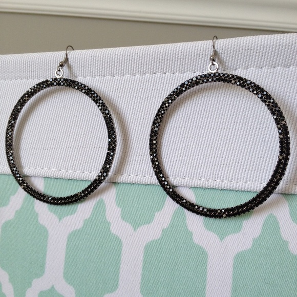 c2417f524b49d Jewelry | Sparkly Black Large Hoop Earrings | Poshmark