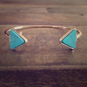 Jewelry - Goldtone Turquoise Tribal Arrow Cuff Bracelet