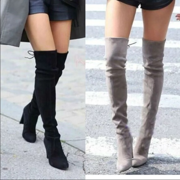 09c1fde1ecf Black over the knee high-heeled boots Boutique