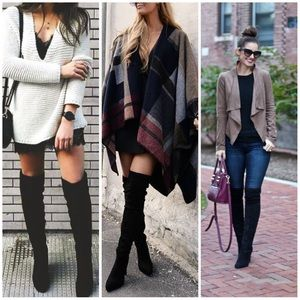 Shoes - Black OTK fitted chunky heels boots