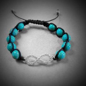 Turquoise & Bling Infinity Shamballa Bracelet